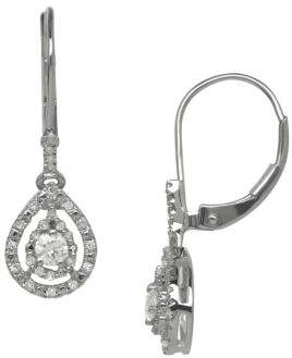 Lord & Taylor 14Kt White Gold and Diamond Drop Earrings