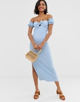 Asos Design DESIGN off shoulder crinkle maxi sundress with puff sleeve
