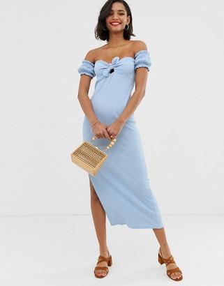 Asos Design DESIGN off shoulder crinkle maxi sundress with puff sleeve-Blue