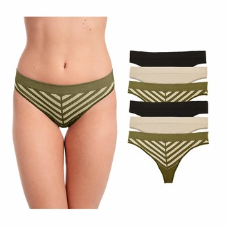 Layer 8 Women's 6 Piece Pack Performance Thong Underwear
