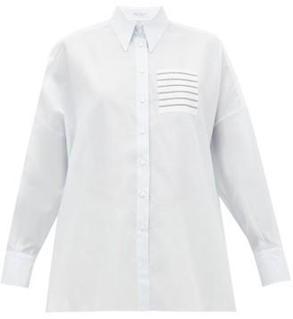 Brunello Cucinelli Beaded-pocket Cotton And Silk-blend Shirt - Womens - Light Blue