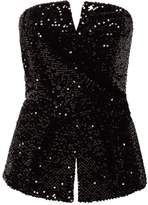 River Island Womens Black sequin wrap bow bandeau crop top