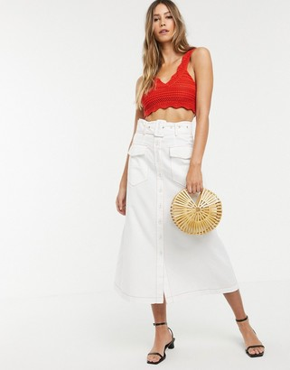 Neon Rose utility maxi skirt with belted waist-White