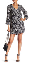 Charles Henry Bell Sleeve Printed Shift Dress