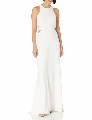 Halston Women's Sleeveless Round Neck Gown with Flowy Back & Cut Out
