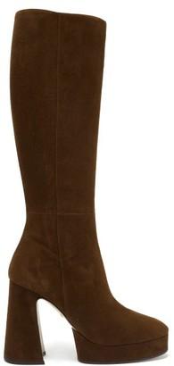 Gucci Madame Suede Knee-high Platform Boots - Dark Brown