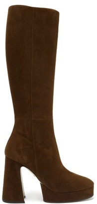Gucci Madame Suede Platform Knee-high Boots - Dark Brown