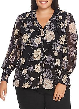 Vince Camuto Plus Floral Smocked-Cuff Blouse