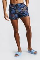 boohoo Mens Navy Mid Length Swim Short In Dragon Print, Navy