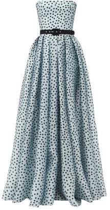 Rasario Strapless Polka-dot Silk-organza Gown - Light Blue