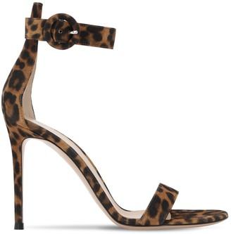 Gianvito Rossi 105mm Portofino Leopard Suede Sandals