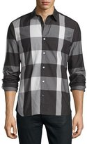 Burberry Large-Check Sport Shirt, Black/White