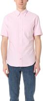 Gitman Brothers Short Sleeve Pink Stripe Oxford Shirt