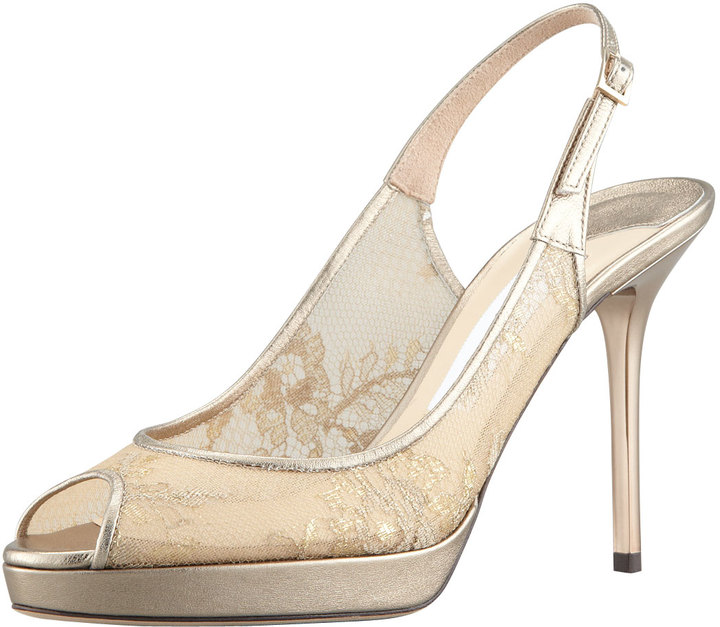 Jimmy Choo Nova Metallic Lace Slingback