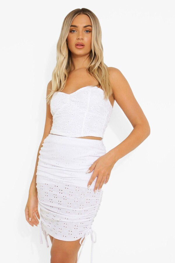 Thumbnail for your product : boohoo Broderie Jersey Ruched Mini Skirt