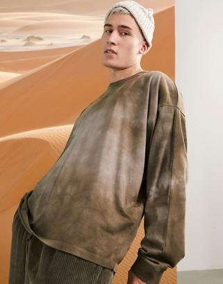 ASOS DESIGN oversized long sleeve t-shirt in brown tie dye