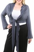 24/7 Comfort Apparel Plus-Size Front-Tie Shrug