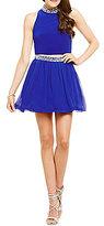 B. Darlin Crystal Trim Mock Neck Two-Piece Dress