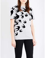 McQ Swallow-print cotton-jersey t-shirt