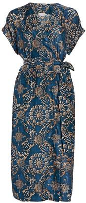Brunello Cucinelli Floral Silk Wrap Dress