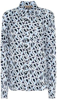 Marni Printed silk-twill blouse