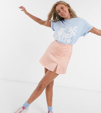 Collusion mini skirt with split in peach