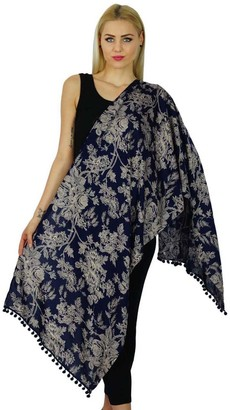 Bimba Women Long Floral Print Rayon Scarves With Pom Pom Scarf Accessories Gift For Her
