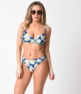 Esther Williams Blue & Dapper Daisy Crossover Bikini Swim Top