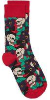Topman Red Halloween Skull Socks