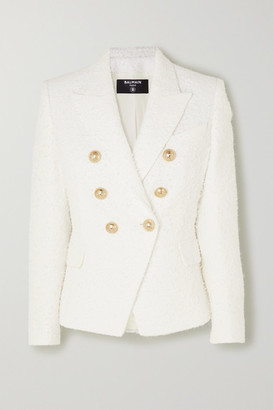 Balmain Double-breasted Boucle-tweed Blazer - White