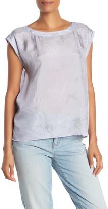 Eileen Fisher Jewel Neck Silk Short Sleeve Blouse