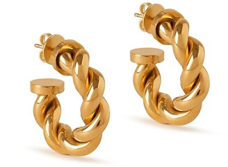 Mulberry Twist Small Hoop Earrings Gold Brass