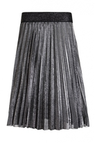 Quiz Silver Metallic Pleated Elasticated Midi Skirt