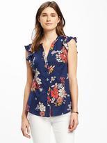 Old Navy Floral-Print Flutter-Sleeve Shirt for Women