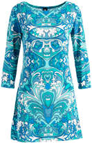 Modern Touch Women's Casual Dresses Teal - Teal & White Abstract Three-Quarter Sleeve Shift Dress - Women