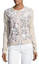 Neiman Marcus Floral Silk-Front Lurex® Bomber Cardigan