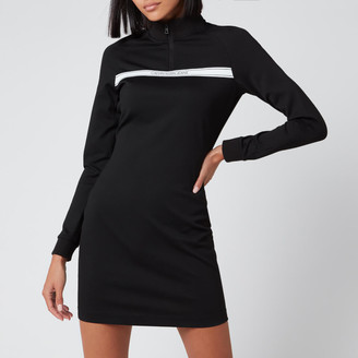 Calvin Klein Jeans Women's Milano Mock Neck Zip Logo Dress