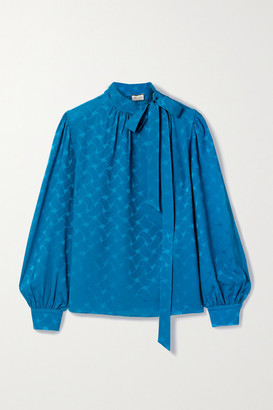 Saint Laurent Pussy-bow Silk-jacquard Blouse - Blue