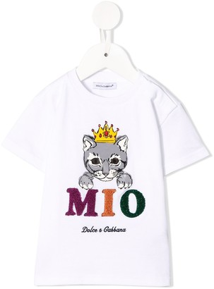 Dolce & Gabbana Kids cat print T-shirt