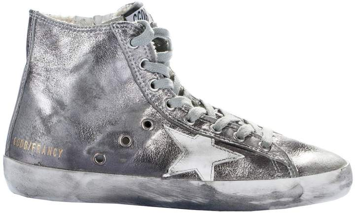 Golden Goose Pewter Francy Hi-Top Sneakers