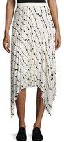 Helmut Lang Pleated Printed Silk Midi Skirt, White