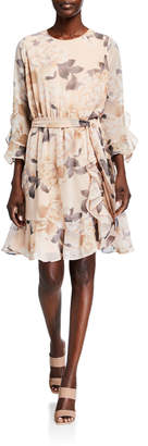 Calvin Klein Floral Ruffle Belted Dress