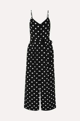 J.Crew Shirred Polka-dot Jersey Jumpsuit - Black