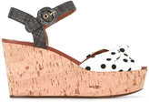Dolce & Gabbana polka dot wedge sandals - women - Cork/Cotton/Raffia/Leather - 38