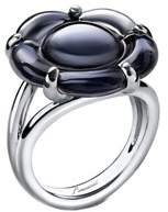 Baccarat B Flower Silver Crystal Ring.