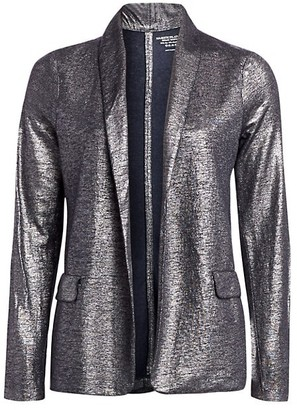 Majestic Filatures Metallic Linen-Blend Shawl Collar Blazer