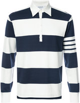 Thom Browne Long Sleeve Polo With 4-Bar Stripe In Blue And White Rugby Stripe Cotton
