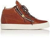 Giuseppe Zanotti Men's Leather Double-Zip Mid-Top Sneakers-BROWN