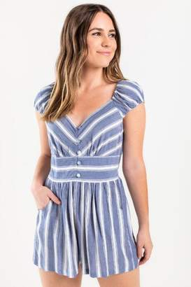 francesca's Hayleigh Striped Romper - Blue