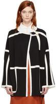 Chloé Black and White Wool Cape Coat